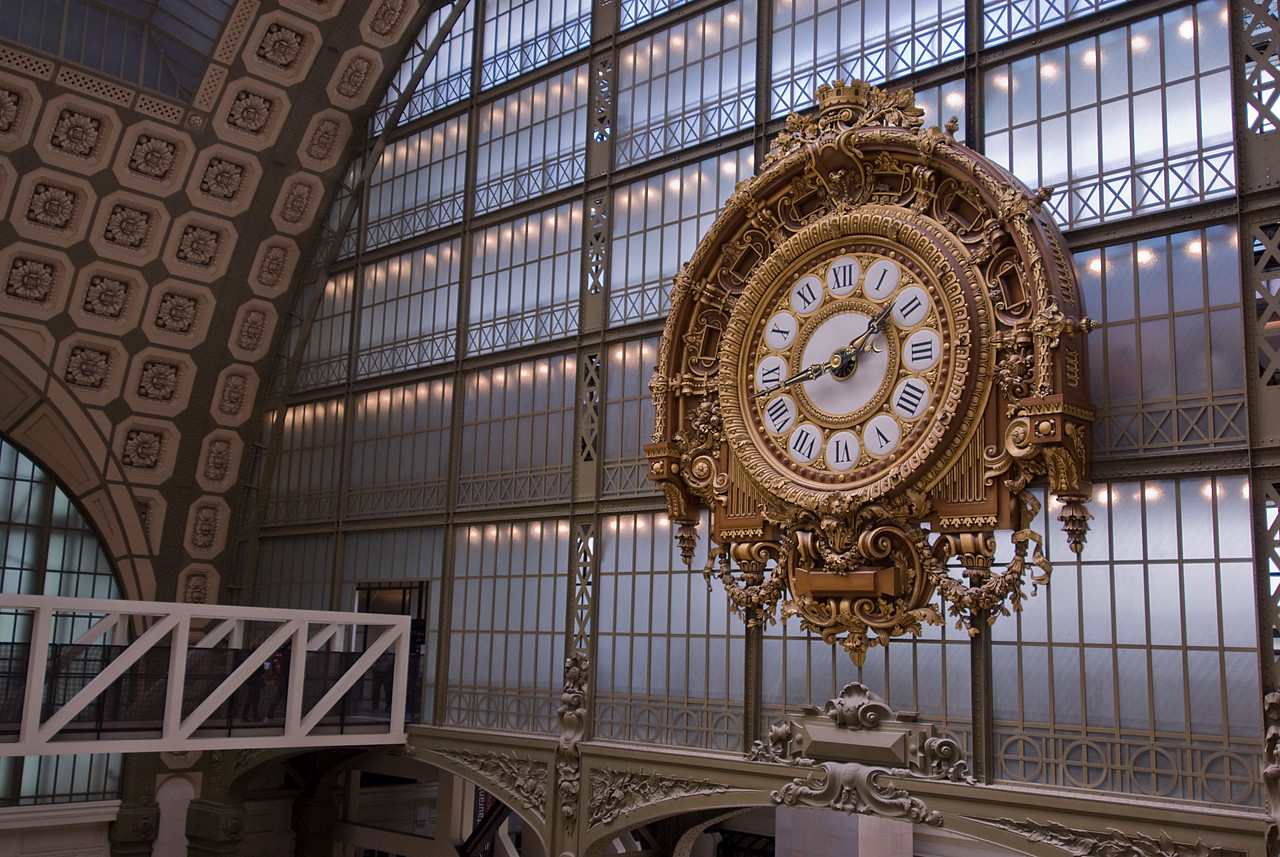 Huge clock inside Musée d'Orsay in Paris, France
