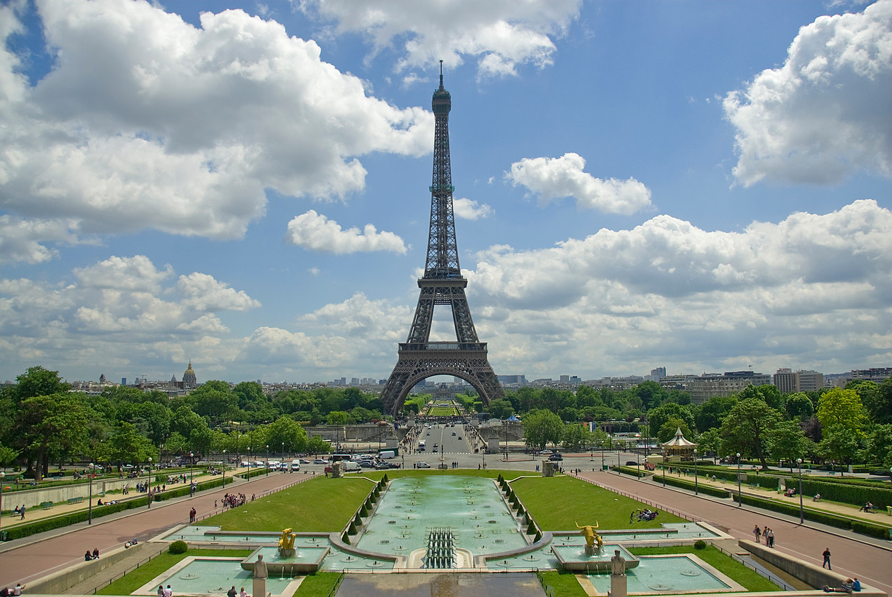 Profile of the Eiffel Tower in Paris, France