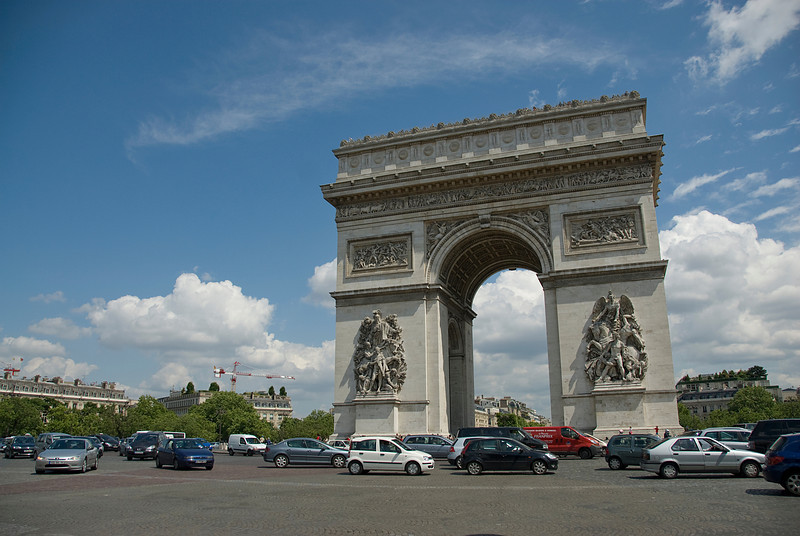Street scene near Arc de Triomphe in Paris, France