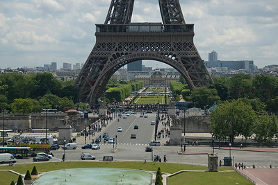 Street scene below the Eiffel Tower in Paris, France