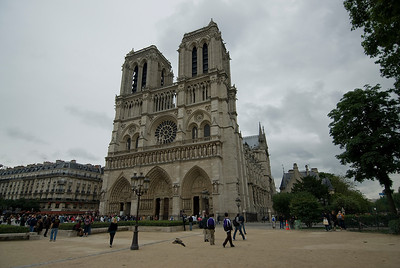 Outside the Notre Dame Cathedral in Paris, France