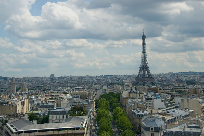 Wide shot of the Eiffel Tower and Paris skyline - France