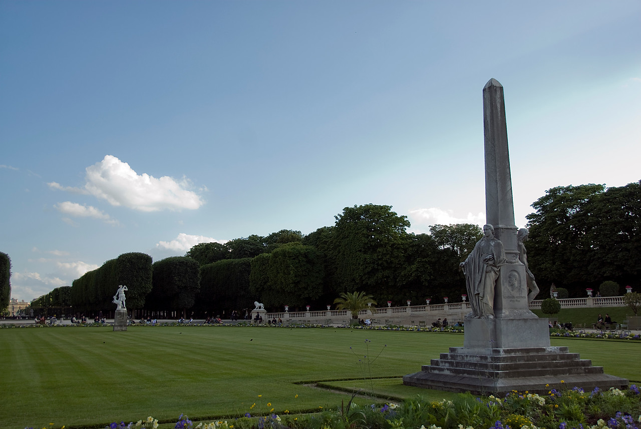 Park around Luxembourg Palace in Paris, France