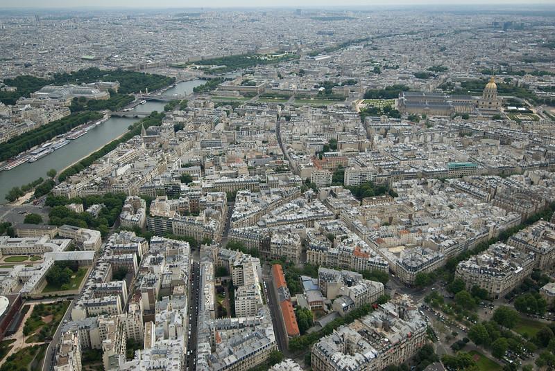 Aerial shot of the Paris city skyline - France