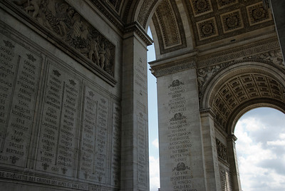 Names carved on the wall of Arc de Triomphe in Paris, France