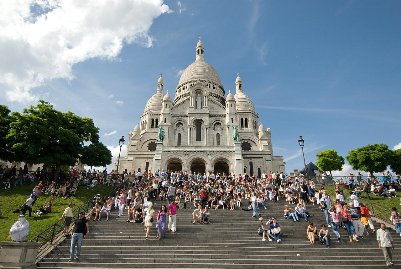 Tourists in Montmartre - Paris, France