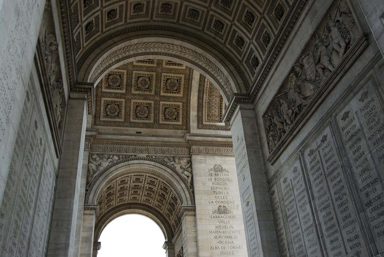Pillars and carvings in Arc de Triomphe - Paris, France