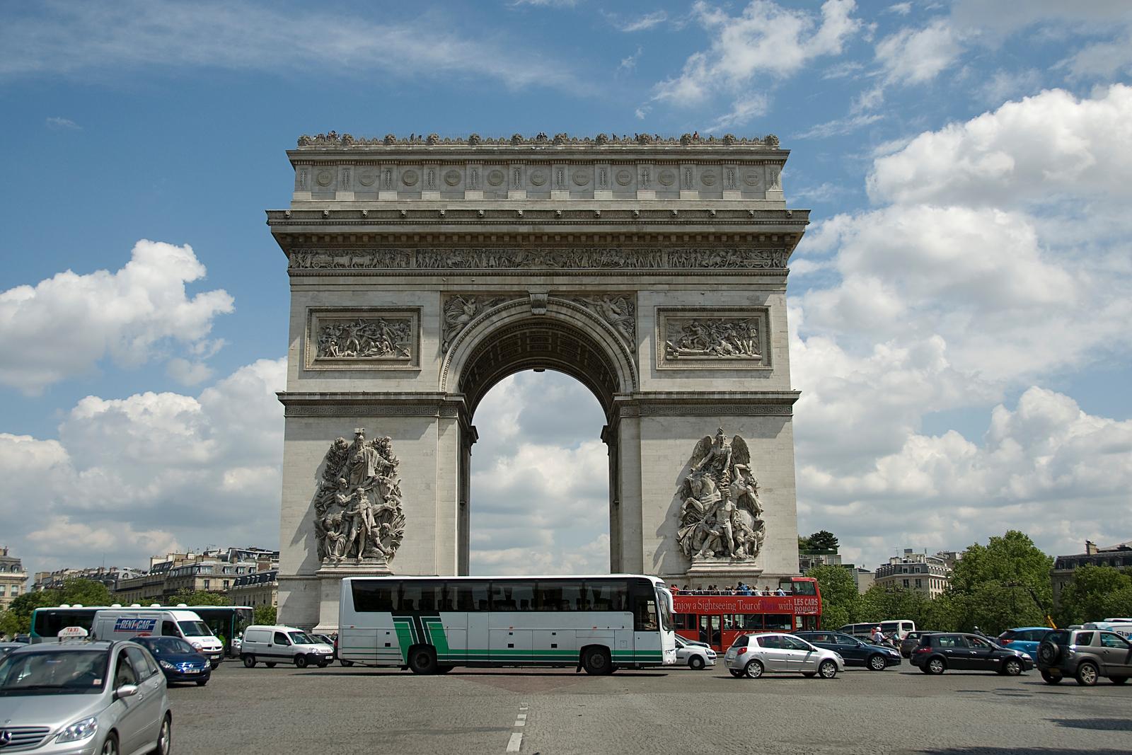 Profile of the Arc de Triomphe in Paris, France