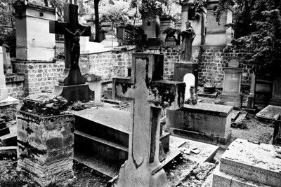 Crosses line graves in the Pere-La-Chaise Cemetery in Paris, France