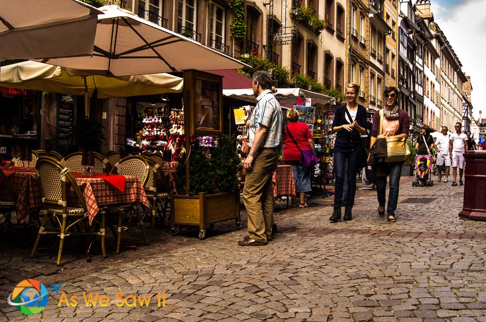 Street view in Strasbourg, France.