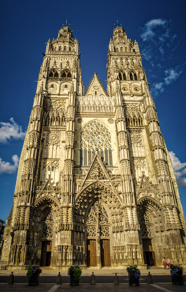 Stunning Cathedral of Tours beautified by the magic evening light.