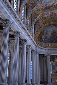Pillars and large windows in Versailles, France