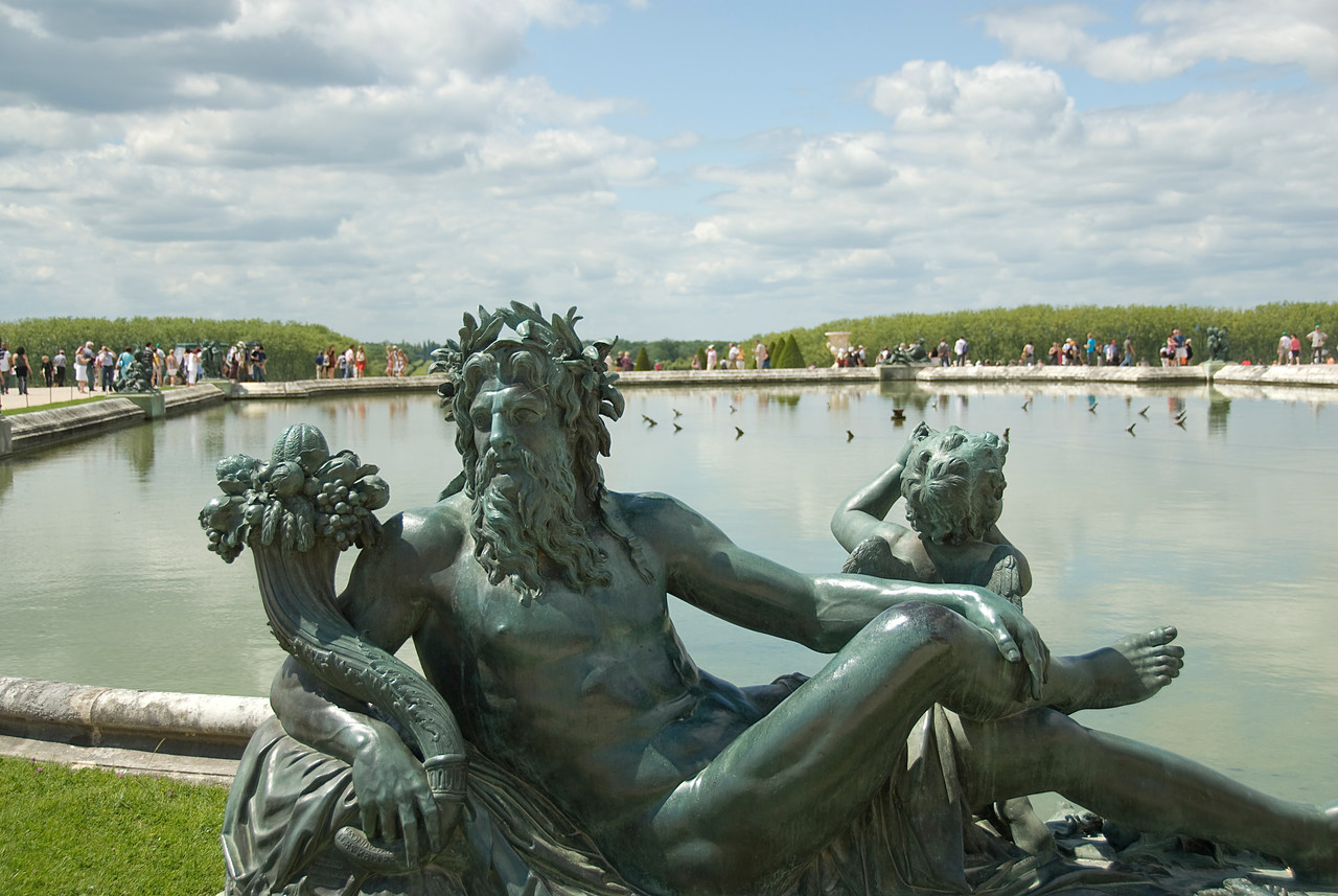 Statues depicting the rivers of France at Chateau de Versailles - France