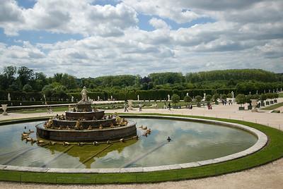 Fountain at Gardens at Chateau de Versailles, France