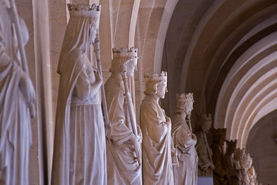 Row of monumental statues in Versailles Palace - Versailles, France