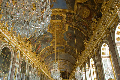 Elaborate ceiling in Versailles Palace in France