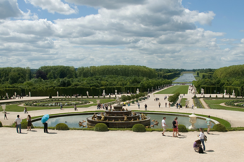 Wide shot of the Gardens at Chateau de Versailles - France