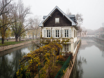 Strasbourg, France in the fog