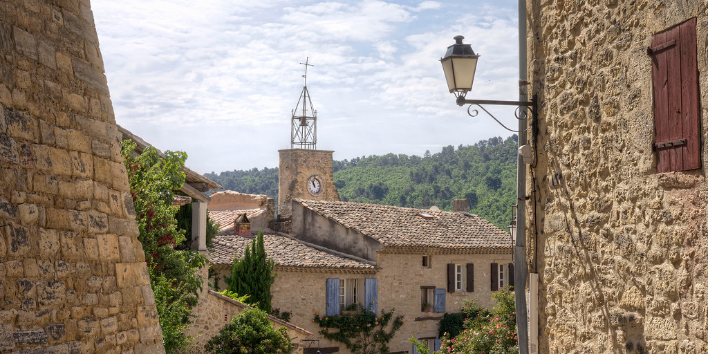 clocktower in ansouis provence quaint medieval french village