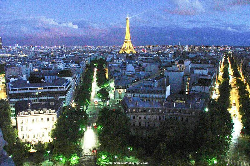 The Eiffel Tower, (view from L'Arc de Triomphe), Paris, France.
