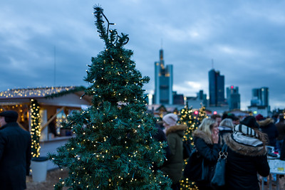 Frankfurt Christmas Market with Skyline in background