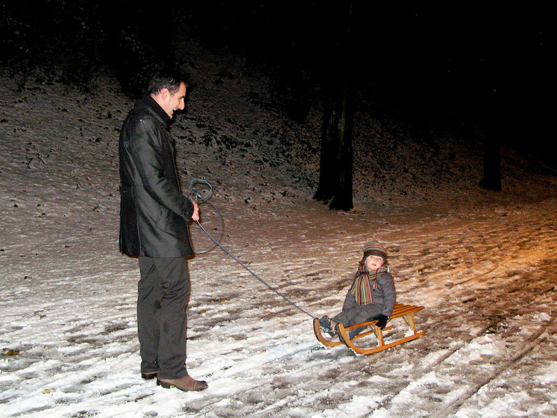 Sledding through Citadel Park with dad, Gent.
