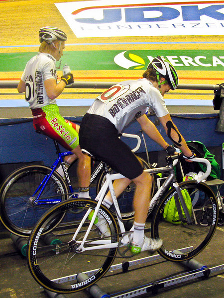 Randy Costermans (Belgium) and  Gerrit Broeders (Belgium) warm up on rollers before the start of the Under-23 race.