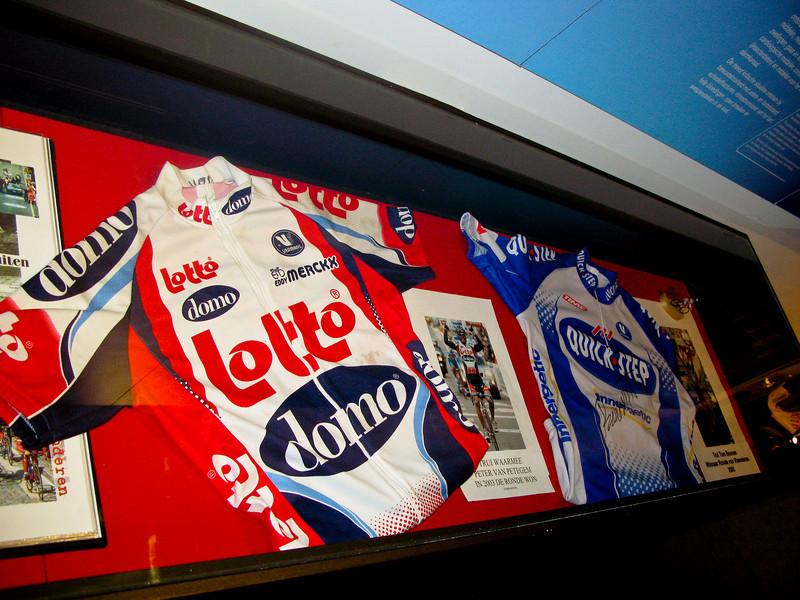 2003 Ronde van Vlaanderen winner Peter van Petegem's Lotto jersey (left).<br /> 2005 Ronde van Vlaanderen winner Tom Boonen's Quick Step jersey (right).