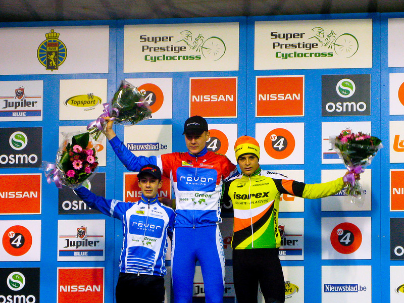 Asper-Gavere Super Prestige Cyclo-cross Juniors awards ceremony.<br /> 1st - Tijmen Elsing, Netherlands  39 minutes 23 seconds,  2nd - Lars van der Haar, Netherlands  45 seconds behind.  3rd - Wietse Bosmans, Belgium same time.