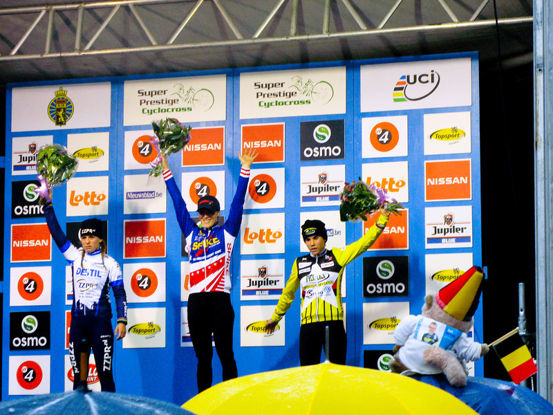 Asper-Gavere Super Prestige Cyclo-cross<br /> Women's race awards ceremony. 1st - Katie Compton, USA 44 min. 37 sec.  2nd - Daphny van den Brand, Netherlands at 1:09  3rd - Sonne Cant (Belgium) at 1:22
