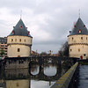 Broel Towers aside the Leie River, Kortrijk,