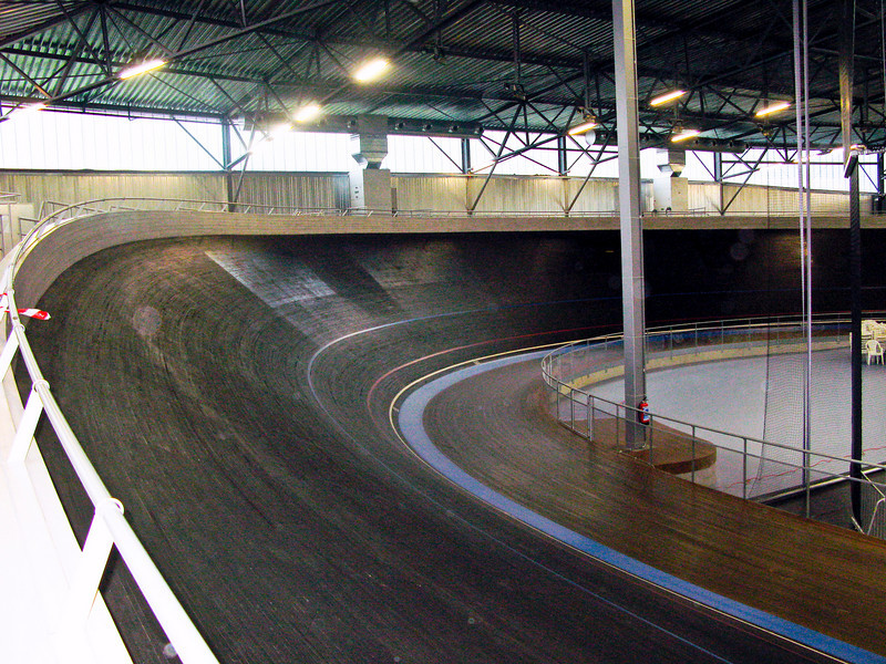 View of the final turn. The track is hardwood. It was built by the famous Schuerman brothers from Germany.  <br /> The 2008 Beijing Olympic Track is a replica of this track.
