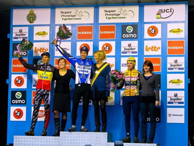 Asper-Gavere Super Prestige Cyclo-cross.<br /> Awards ceremony for the Under-23 Race.<br /> 1st - Philipp Walsleben. Germany 54:08.  2nd -Tom Meeusen, Belgium s.t. 3rd - Kenneth Van Compernolle @2:20.