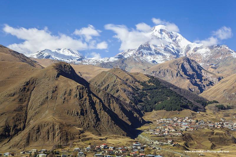 Mount Kazbeg, Stepantsminda, Caucasus Mountains, Georgia.