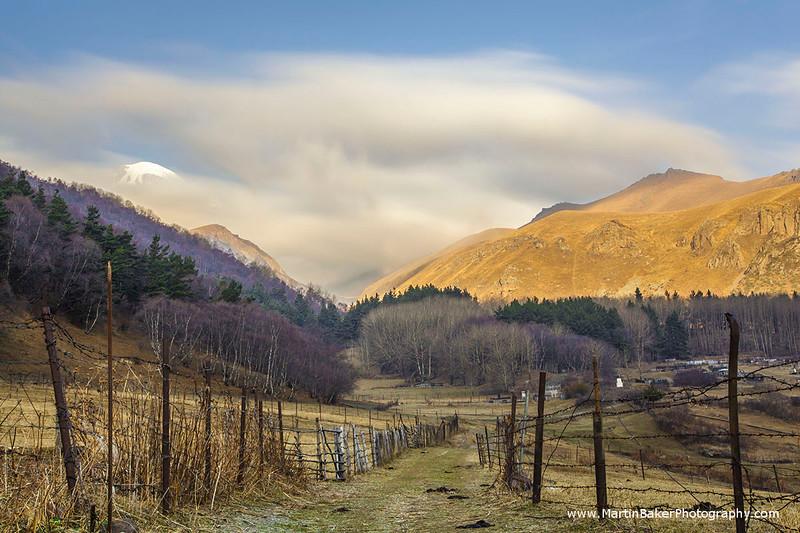 Kazbegi National Park and Mount Kazbeg, Stepantsminda, Caucasus Mountains, Georgia.