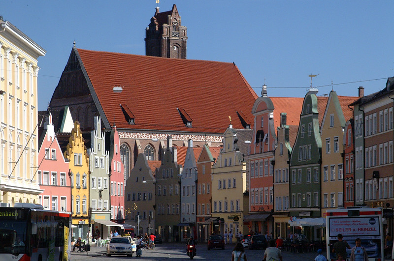 Landhuts - typical center of a Bavarian town. Nice late afternoon light brings up the colors.
