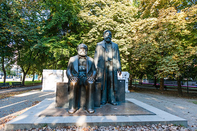 "Monument of Karl Marx and Friedrich Engels - a survivor of the GDR era. The Berliners call it ""The Two Pensioners""."