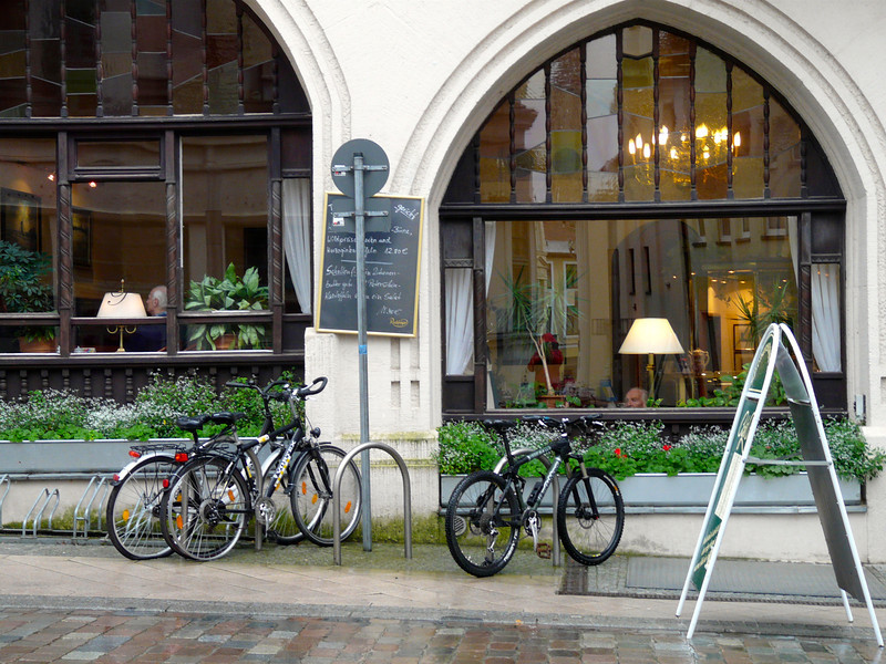 Bicycles in front of Cafe Prag, Schwerin, Germany