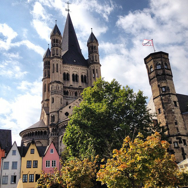 Old Town Köln (Cologne). A view of Groß St. Martin looking up from the Fish Market. Next up: a glass or two of Kölsch. This is Germany's Rheinland. via Instagram http://ift.tt/1lGieF7