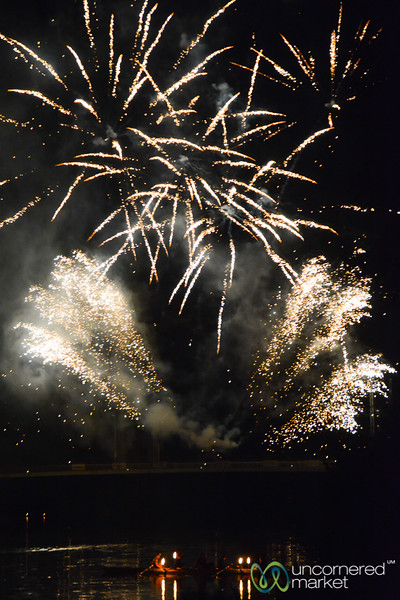 Fireworks as Part of the Bingen Wine Festival - Rhine Valley, Germany