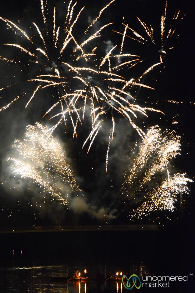 Fireworks as Part of the Bingen Wine Festival - Rhine Valley, Germany