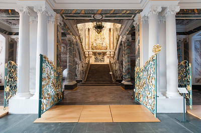 Wide shot of the grand staircase at Augustusburg Palace in Bruhl, Germany