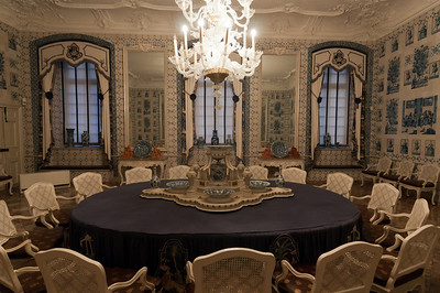 Dining room with chandelier inside Augustusburg Palace - Germany