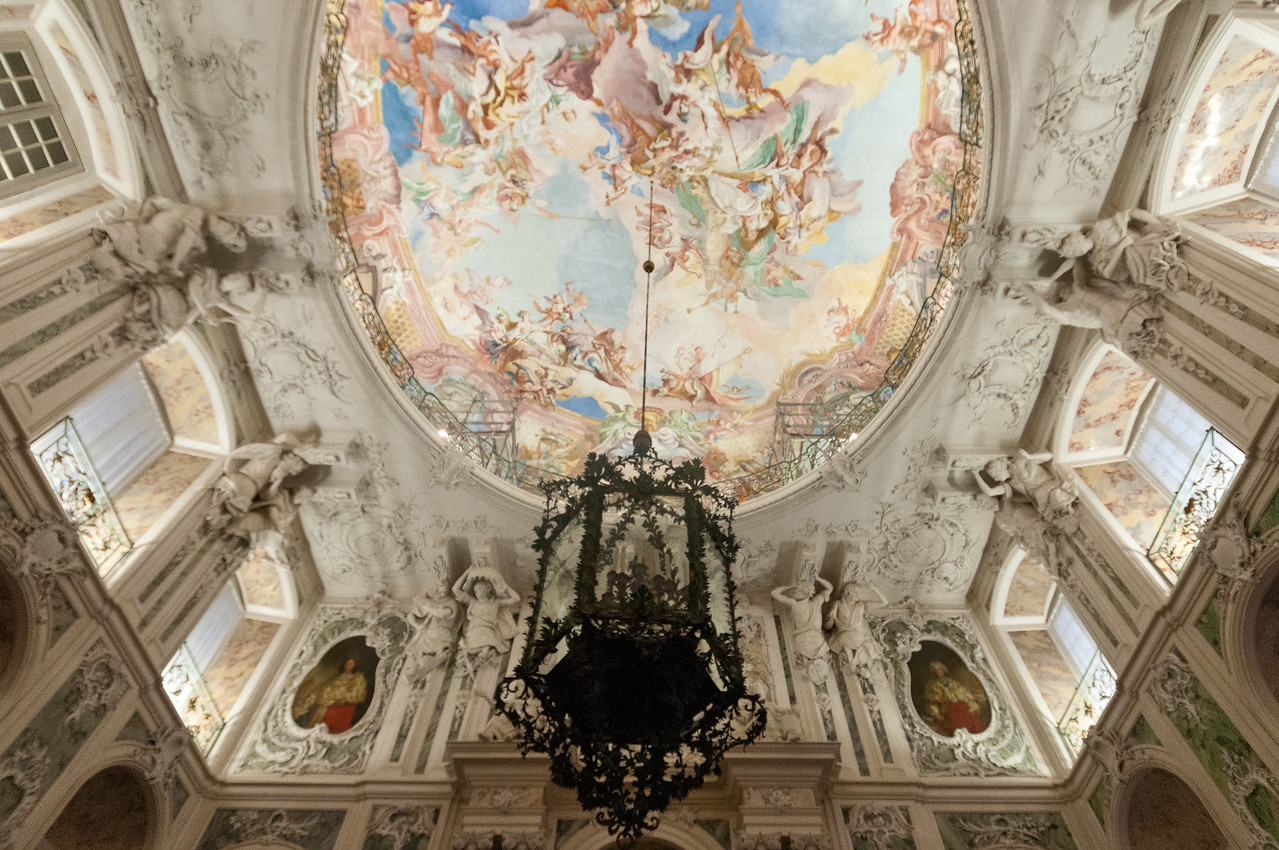 Chandelier above the grand staircase of Augustusburg Palace in Bruhl, Germany