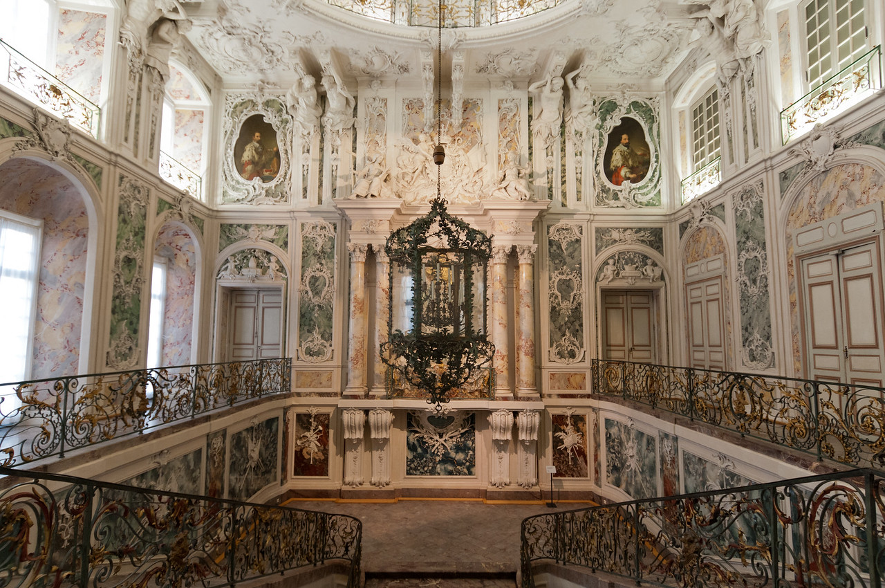 The grand staircase at Augustusburg Palace, Germany