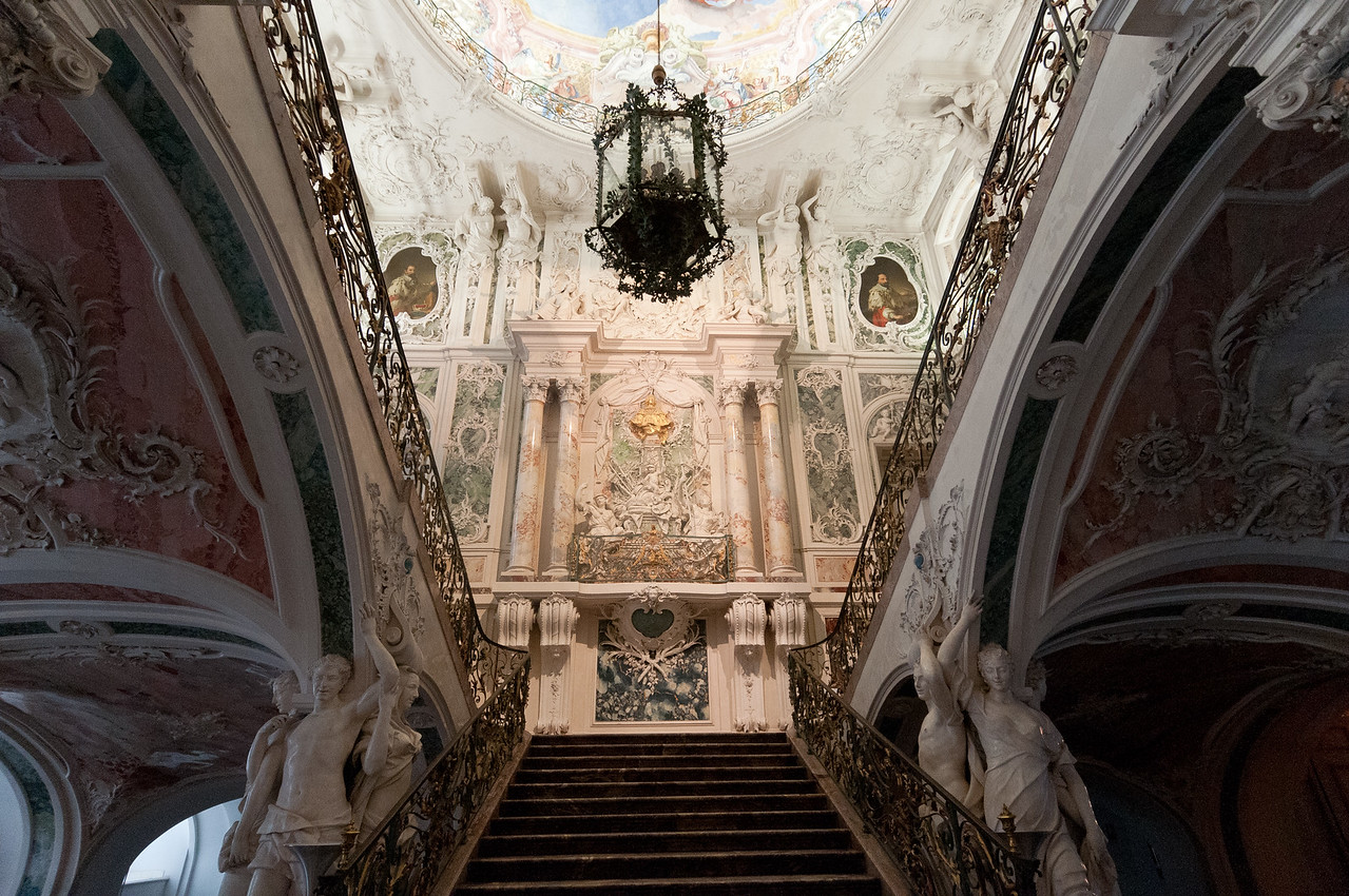 German Rococo style interiors at Augustusburg Palace in Bruhl, Germany