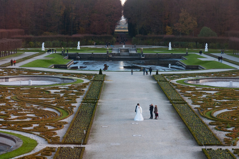 Beautifully landscaped garden outside Augustusburg Palace - Germany