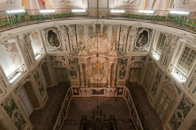 Looking down the grand staircase of Augustusburg Palace in Bruhl, Germany