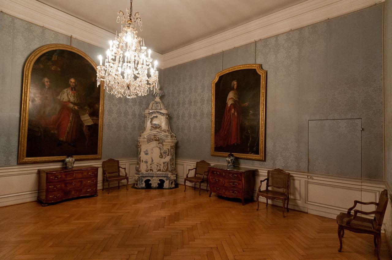 Wooden floor room inside Augustusburg Palace in Bruhl, Germany