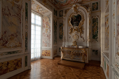 Elaborate wall details inside Augustusburg Palace in Germany